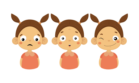 Set of cute little girl with different emotions. Sad, surprised and smiling face with winking eye. Female kid character with two ponytails. Colorful flat vector icons isolated on white background. Banque d'images - 126222000