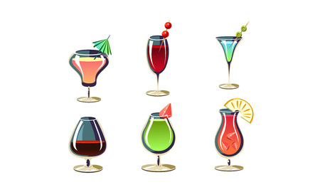 Set of various cocktails in glasses. Tasty alcoholic drinks with umbrellas and fruits. Refreshing summer beverages. Elements for menu or party poster. Cartoon vector icons isolated on white background