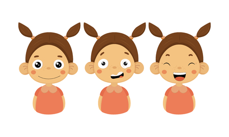 Set of little girl with different emotions. Smiling, confused and happy face. Cute child with two ponytails. Female kid character in pink blouse. Flat vector illustrations isolated on white background Banque d'images - 126222005