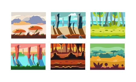 Collection of 6 horizontal seamless backgrounds for mobile game. Landscapes with mountains, wild forests, cliffs and rivers. Natural scenery. Cartoon style illustrations. Colorful flat vector design.