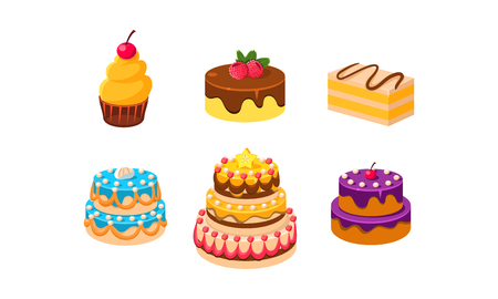 Collection of cakes set, confection desserts, piece of various delicious cakes vector Illustration isolated on a white background.