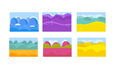 Collection of 6 different seamless horizontal backgrounds for mobile or computer game. Colorful landscapes with abstract forests, hills and blue glaciers. Natural scenery. Flat vector illustrations.