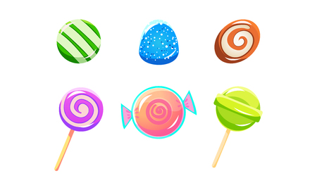 Colorful glossy candies and lollipops set, sweets of different shapes, user interface assets for mobile apps or video games vector Illustration isolated on a white background. Ilustração