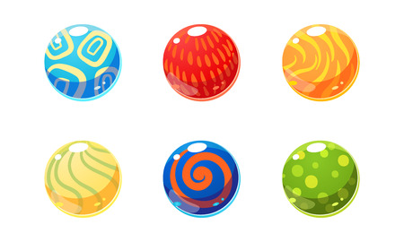 Colorful glossy balls set, bright shiny spheres, user interface assets for mobile apps or video games vector Illustration isolated on a white background.