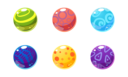 Collection of glossy balls, colorful shiny spheres, user interface assets for mobile apps or video games vector Illustration isolated on a white background. Ilustração