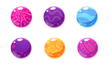 Collection of glossy balls, colorful spheres, user interface assets for mobile apps or video games vector Illustration isolated on a white background.