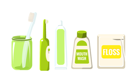 Collection of oral care and hygiene products, Toothbrush, toothpaste, mouthwash, dental floss vector Illustration