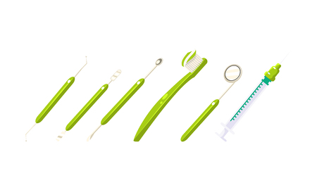 Dentist tools set, tooth healthcare equipment, toothbrush,syringe, scraper, vector Illustration isolated on a white background.