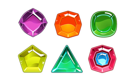 Set of 6 shiny gemstones of different shapes. Valuable stones. Gaming assets. Graphic elements for online mobile game. Cartoon vector icons. Colorful illustrations isolated on white background