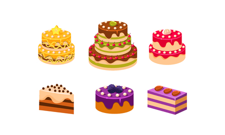 Collection of cakes set, various delicious confection desserts with fruits and berries vector Illustration