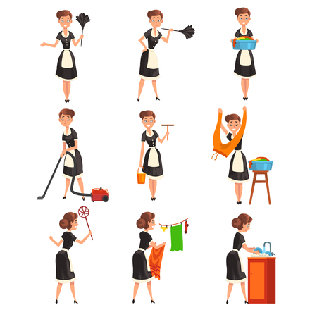 Maid posing in different situations set, housemaid character wearing classic uniform with black dress and white apron, cleaning service vector Illustration isolated on a white background.