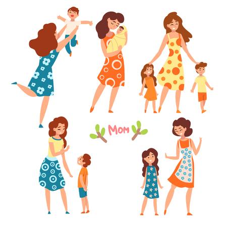 Conjunto de madres y sus hijos, mamás hablando, caminando y pasando un buen rato con sus hijos, maternidad, concepto de crianza de los hijos vector ilustración aislada sobre fondo blanco.