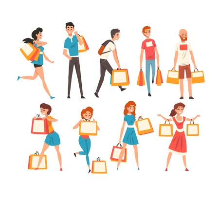 Collection of people with shopping bags, men and women enjoying shopping and purchasing of goods or gifts vector Illustration isolated on a white background.
