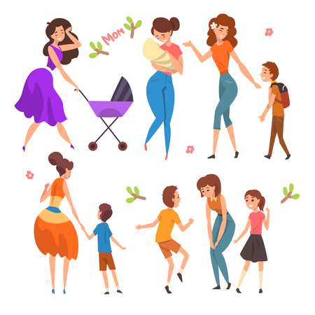 Mothers having a good time with their kids set, motherhood, parenting concept vector Illustration isolated on a white background.