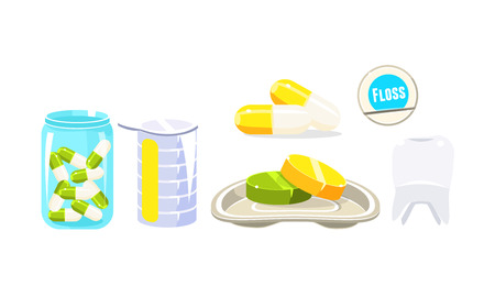 Collection of oral care and hygiene products, pills, dental floss, dental procedure elements vector Illustration isolated on a white background.