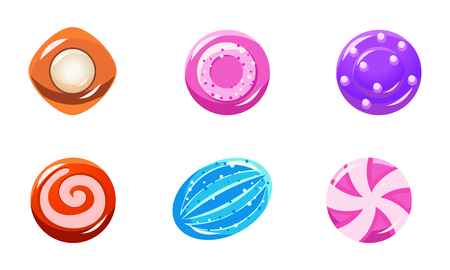 Collection of colorful glossy candies, sweets of different shapes, user interface assets for mobile apps or video games vector Illustration isolated on a white background. Ilustração