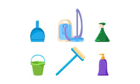 Household cleaning supplies set, vacuum cleaner, scoop, bucket, sprayer vector Illustration
