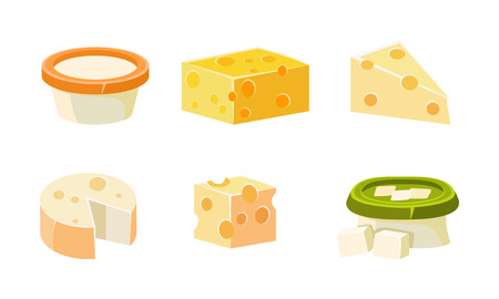 Collection of cheese assortment, various types fresh cheesy products vector Illustration isolated on a white background. 일러스트