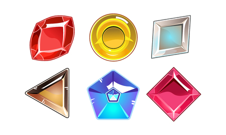 Collection of 6 glossy valuable stones of different shapes. Icons of bright gemstones. Colorful graphic elements for online mobile game. Cartoon vector illustrations isolated on white background Illustration