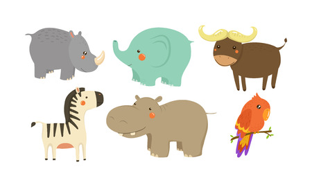 Set of various African animals. Adorable cartoon characters. Wildlife and fauna theme. Graphic elements for children book or postcard. Colorful vector icons in flat style isolated on white background.