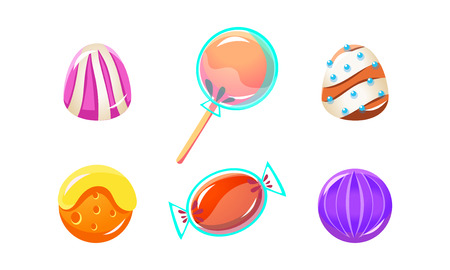 Colorful glossy candies set, sweets of different shapes, user interface assets for mobile apps or video games vector Illustration isolated on a white background.