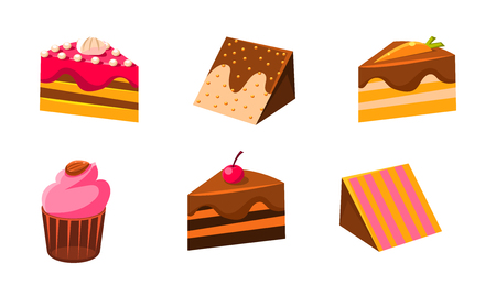 Collection of cakes set, piece of various delicious confection desserts vector Illustration isolated on a white background. Illustration