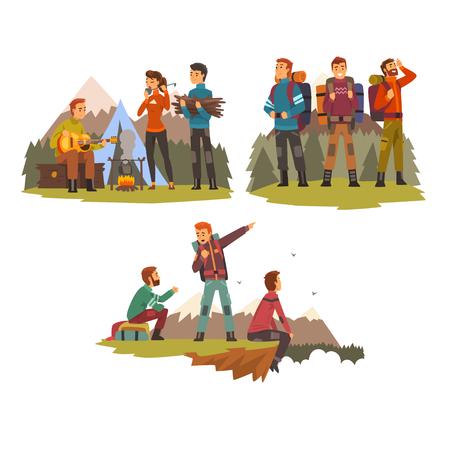 Hombres viajando juntos, gente de campamento, turistas de senderismo en las montañas, viaje de mochilero o vector de expedición ilustración aislada sobre fondo blanco.