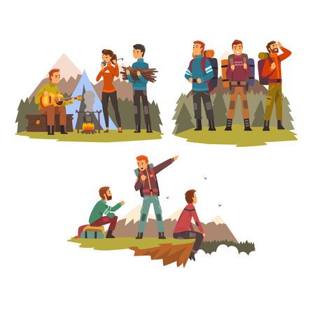 Men travelling together, camping people, tourists hiking in mountains, backpacking trip or expedition vector Illustration isolated on a white background.
