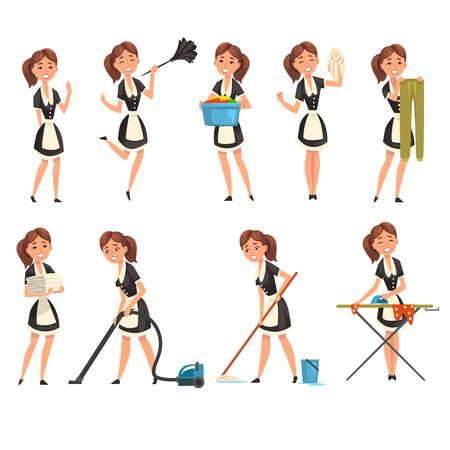 Smilling maid posing in different situations set, housemaid character wearing classic uniform, cleaning service vector Illustration isolated on a white background. Ilustracja