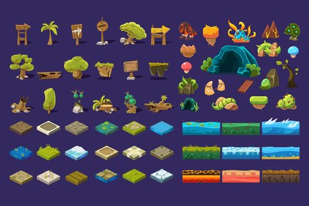 Collection of natural landscape elements, trees, wooden signs, stones, ground platforms, user interface assets for mobile apps or video games vector Illustration Vectores