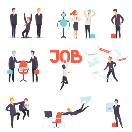 Menschen, die ihre Jobs suchen und verlieren, Auswahl von Kandidaten für eine freie Stelle, Büroangestellte, die von der Stelle entlassen wurden, Rekrutierung, Einstellung der Vektor-Illustration isoliert auf weißem Hintergrund.