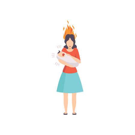 Tired mother with burning brain holding her screaming newborn baby, emotional burnout concept, stress, headache, depression, psychological problems vector Illustration isolated on a white background.