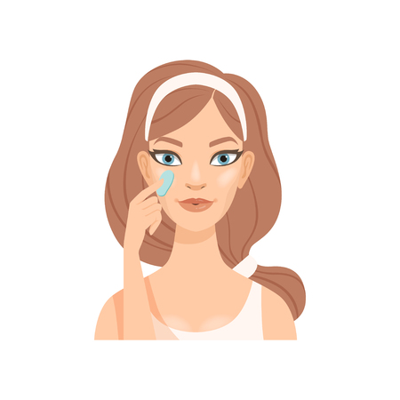 Attractive young woman applying cream or gel on her face, girl caring for her face and skin, facial treatment procedure, vector Illustration isolated on a white background.