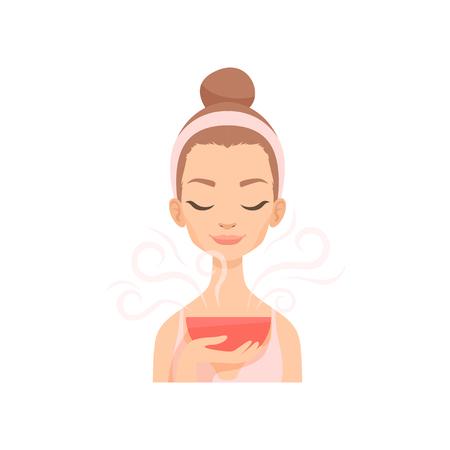 Jolie jeune femme prenant soin de son visage avec de la vapeur, vecteur de procédure de traitement du visage Illustration isolé sur fond blanc.