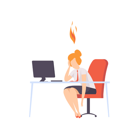 Exhausted tired woman sitting at her working place with computer in office, businesswoman with burning brain, emotional burnout concept, stress, headache, depression, psychological problems vector Illustration isolated on a white background.