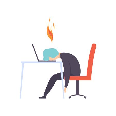 Uomo esausto oberato di lavoro seduto al suo posto di lavoro con il computer in ufficio, uomo d'affari con il cervello in fiamme, concetto di burnout emotivo, stress, mal di testa, depressione, problemi psicologici vettoriale illustrazione isolato su sfondo bianco.