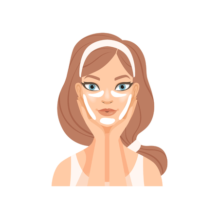 Attractive young woman with facial kinesio tape, girl caring for her face and skin, facial treatment procedure vector Illustration isolated on a white background. Vettoriali