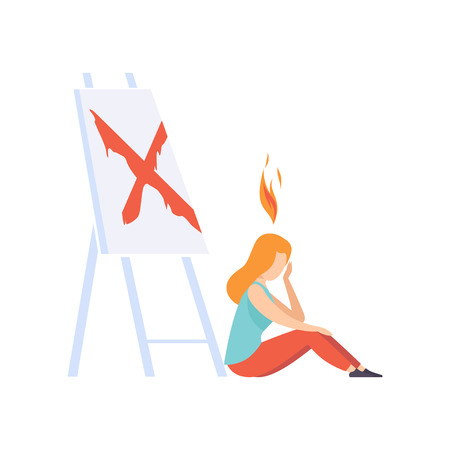 Tired artist woman feeling exhausted, emotional burnout concept, stress, headache, depression vector Illustration isolated on a white background.  イラスト・ベクター素材