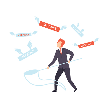 Unemployed male job seeker, office worker fired from job, unemployment concept, recruitment, hiring vector Illustration isolated on a white background.