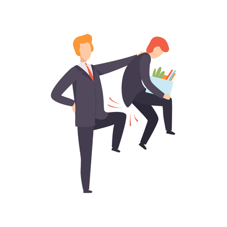 Chief dismissing his subordinate, office worker fired from job, unemployed person vector Illustration isolated on a white background.