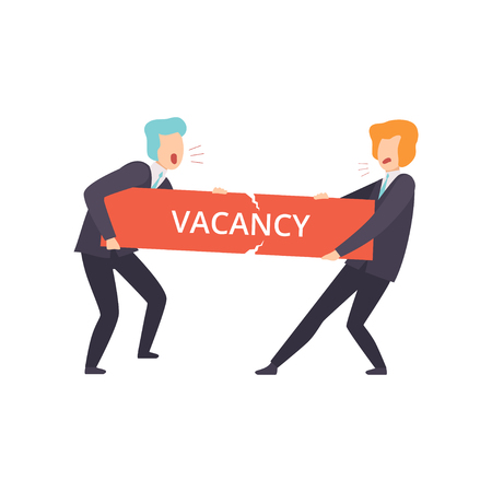 Businessmen fighting for a vacancy, business competition, job seekers, unemployment concept, job search, recruitment, hiring vector Illustration isolated on a white background.