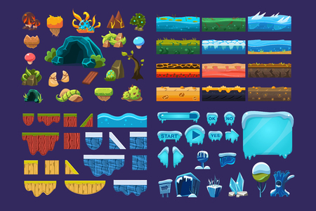 Collection of summer and winter fantasy landscape elements, user interface assets for mobile apps or video games vector Illustration, web design