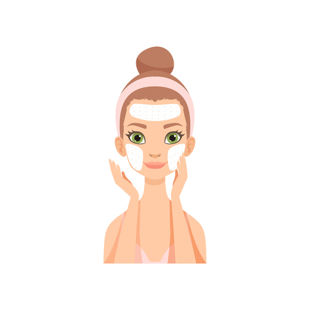 Attractive young woman applying cleansing mask, girl caring for her face and skin, facial treatment procedure vector Illustration isolated on a white background. Vektorové ilustrace