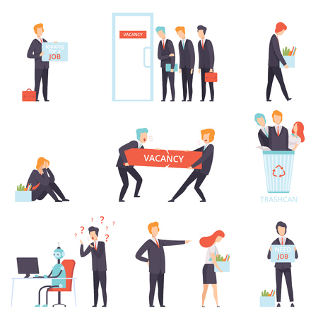 Personas que buscan y pierden su conjunto de puestos de trabajo, selección de candidatos para vacante, búsqueda de empleo, reclutamiento, contratación vector ilustración aislada sobre fondo blanco.