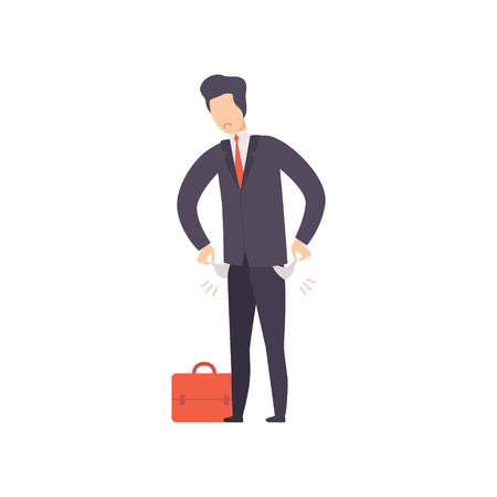 Unemployed man with empty pockets, office worker fired from job, male job seeker vector Illustration isolated on a white background.