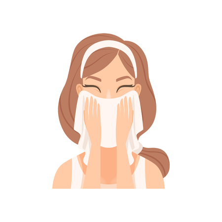 Attractive young woman wiping her face with a towel, girl caring for her face and skin, facial treatment procedure, vector Illustration isolated on a white background.