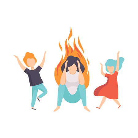 Stressed tired mother and her kids, woman on fire, emotional burnout concept, stress, headache, depression, psychological problems vector Illustration isolated on a white background.