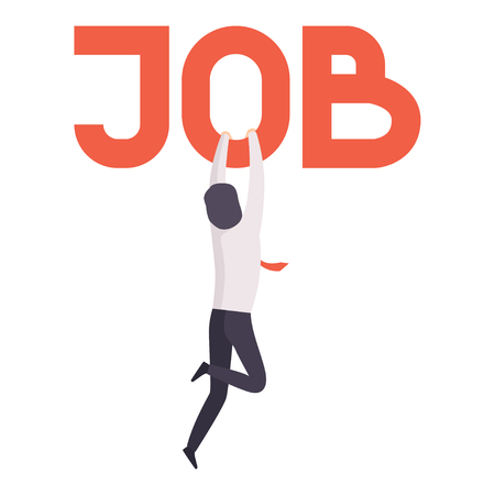 Uomo d'affari che tiene alla parola lavoro, impiegato licenziato dal lavoro, concetto di disoccupazione, ricerca di lavoro, reclutamento, assunzione vettoriale illustrazione isolato su sfondo bianco. Vettoriali