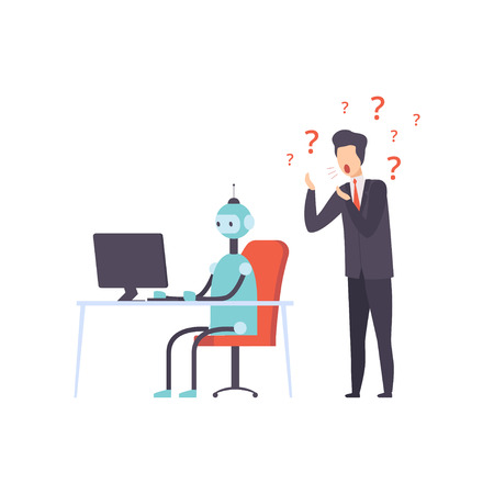 Hiring people or robot, human technology competition, office worker fired from job, vector Illustration isolated on a white background.
