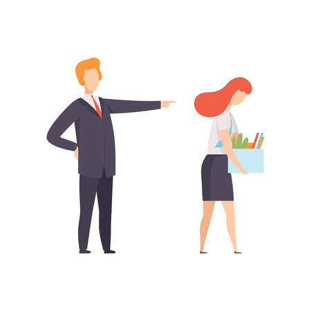 Mujer de negocios despedida del trabajo, mujer con una caja de pertenencias personales, oficinista despedida del trabajo, vector de mujer desempleada ilustración aislada sobre fondo blanco.